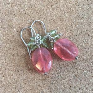 Cherry Quartz and Peridot Earrings